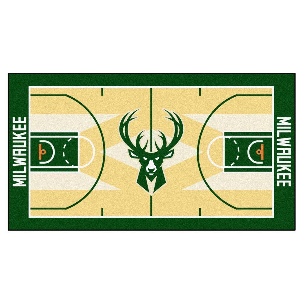 NBA Milwaukee Bucks Tan 3 ft. x 5 ft. Indoor Basketball Court Runner Rug