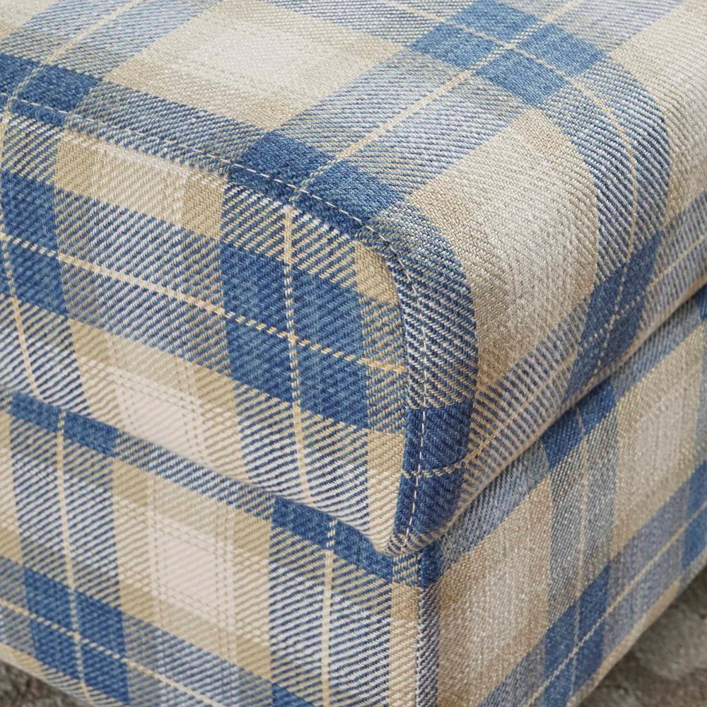 Miraculous Noble House Daisha Blue Plaid Fabric Storage Ottoman 16595 Machost Co Dining Chair Design Ideas Machostcouk