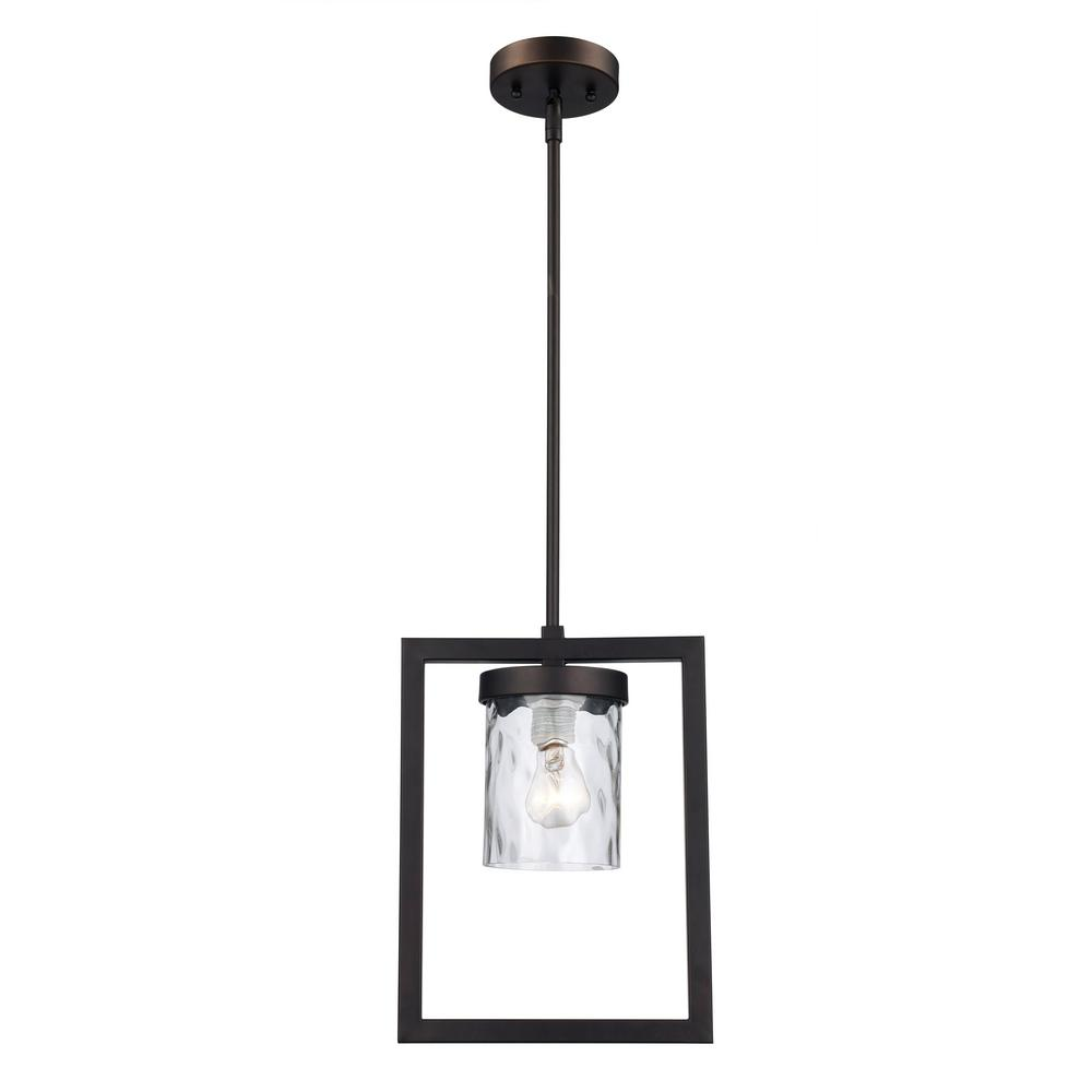 1-Light Oil Rubbed Bronze Mini Pendant with Hammered Glass Shade