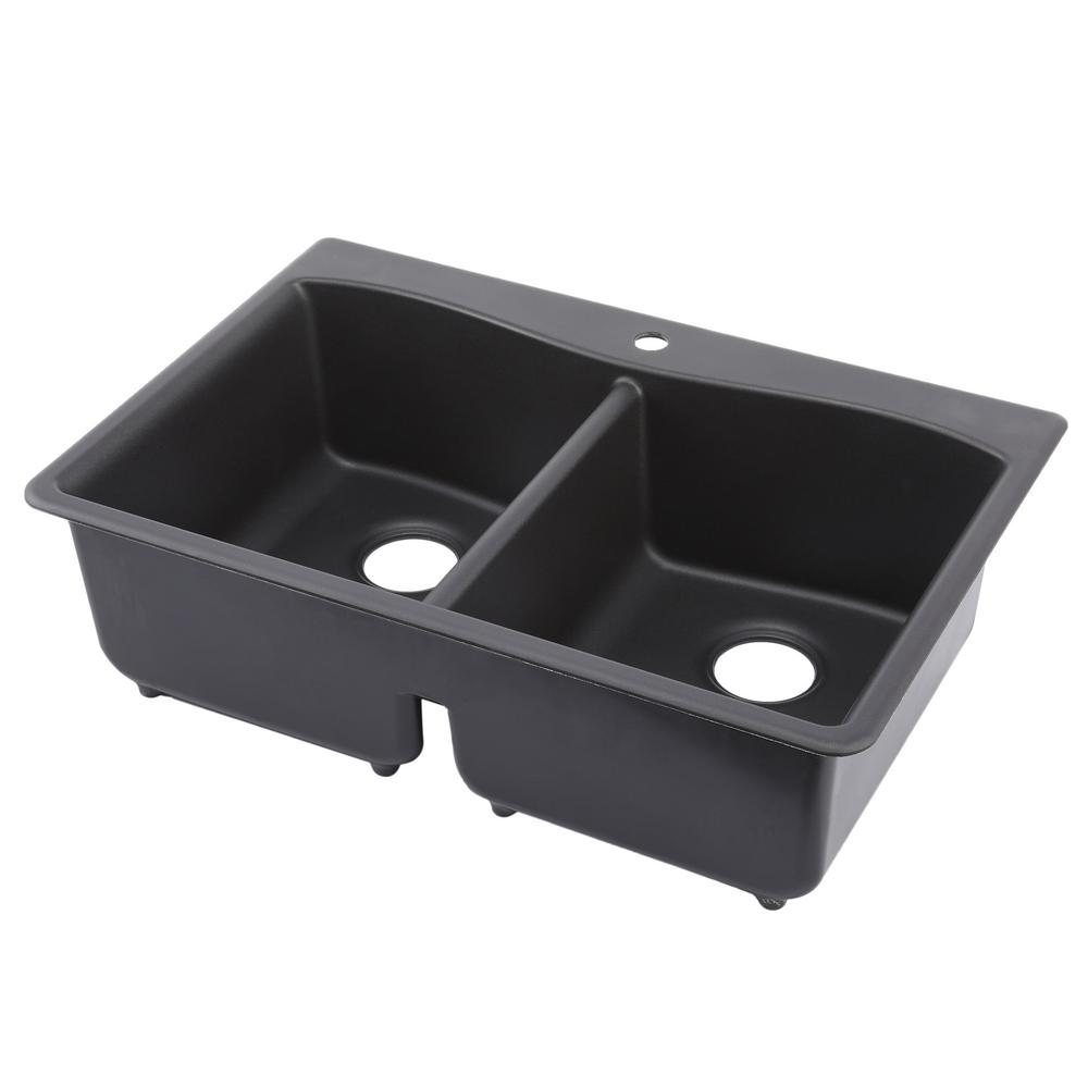 KOHLER Kennon Drop-In/Undermount Neoroc Granite Composite 33 in. 1-Hole  Double Basin Kitchen Sink in Matte Black