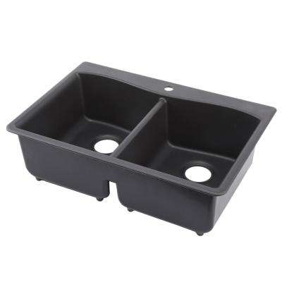 Kennon Drop-In/Undermount Neoroc Granite Composite 33 in. 1-Hole Double Basin Kitchen Sink in Matte Black