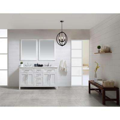 OVE Tahoe 60 in. W x 24.6 in. D Vanity in White with Carrera Marble Vanity Top in White with White Basin and Mirror