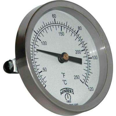 TCT Series 2.5 in. Mild Steel Case Clamp-On Thermometer with Bi-Metallic Sensing Element and Range of 30°-250° F/C