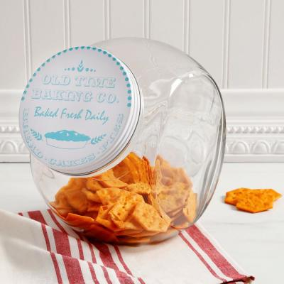 Cottage Chic 4.25 Qt. Glass Canister with Steel Lid in Blue Print