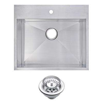 Drop-In Stainless Steel 25 in. 1 Hole Single Bowl Kitchen Sink with Strainer in Satin