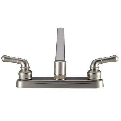 2-Handle Classical Standard Kitchen Faucet with Clear Knobs for RV in Brushed Satin Nickel