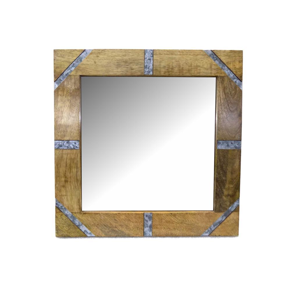 RASHI ENTERPRISES Square Wood/Galvanized with Mirror was $49.95 now $29.32 (41.0% off)