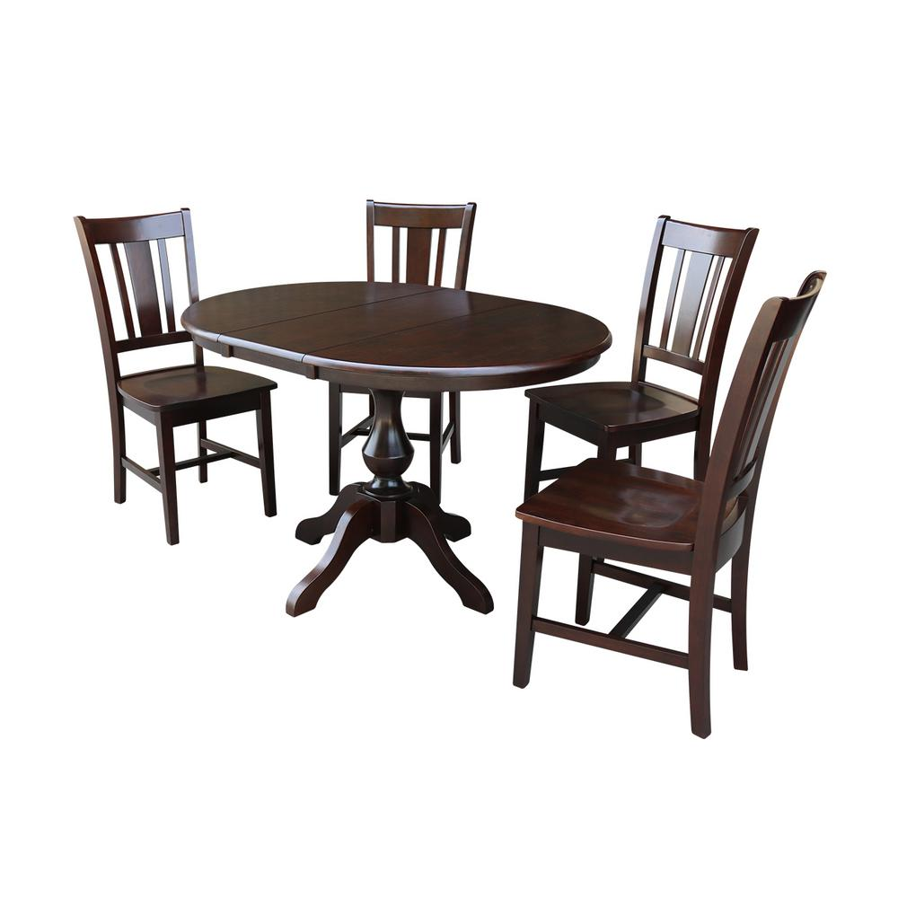 International Concepts Sophia 5 Piece Mocha Oval Dining Set With San Remo Chairs