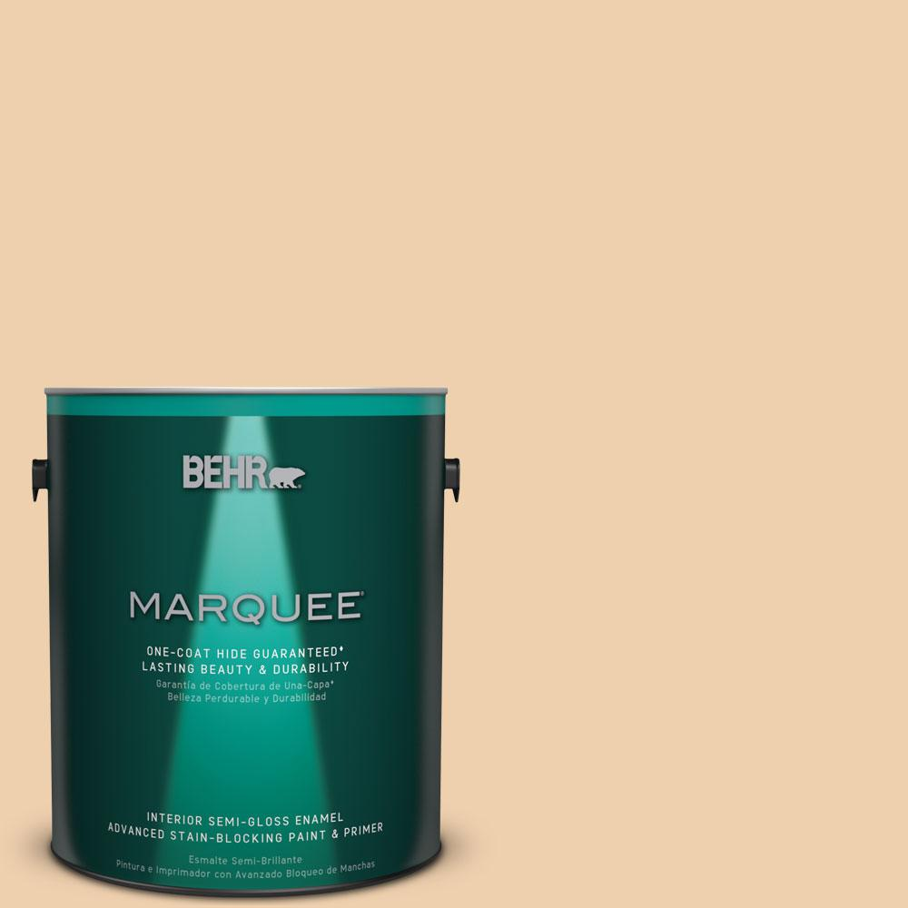 1 gal. #MQ3-43 Ceramic Beige One-Coat Hide Semi-Gloss Enamel Interior Paint