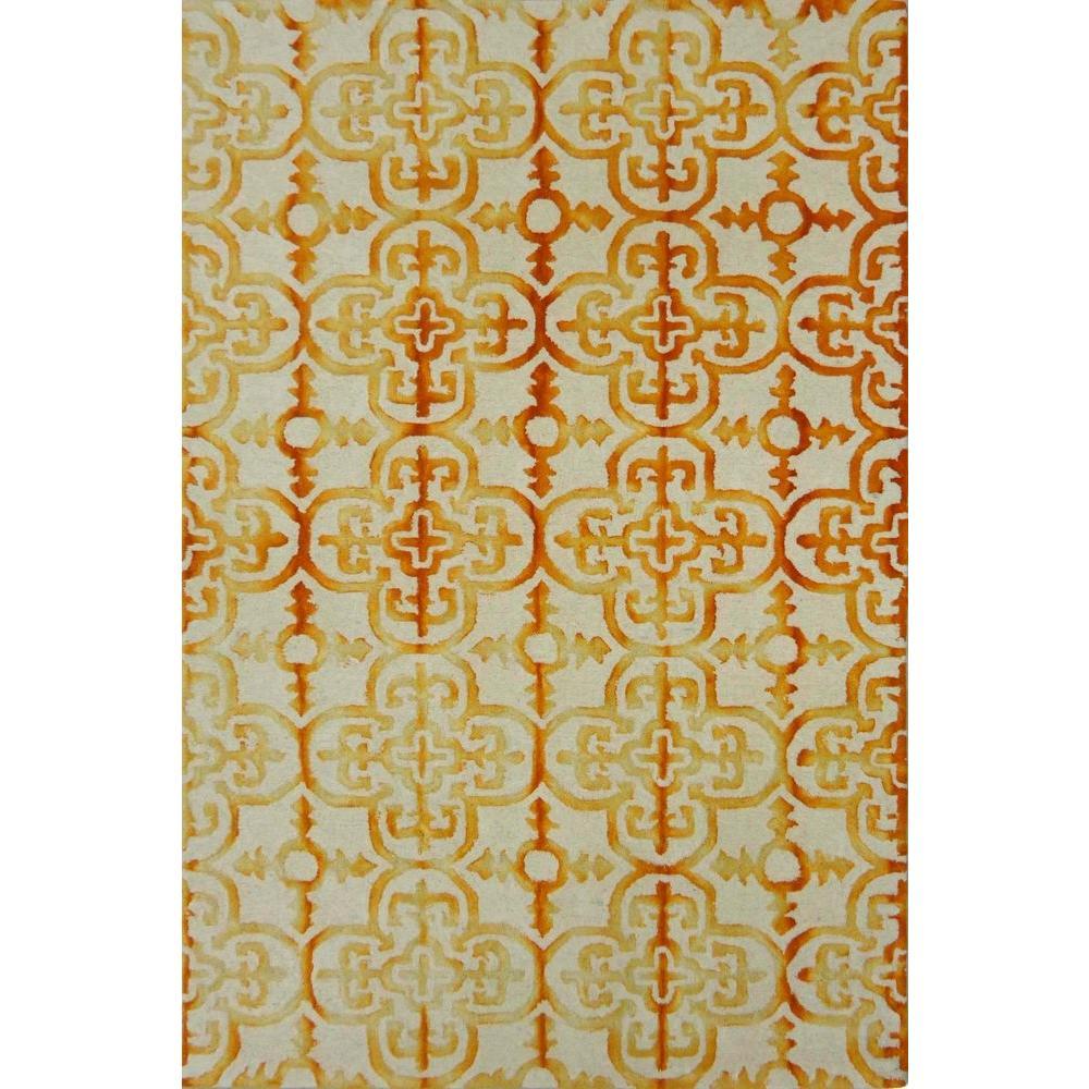 Dip Dye Ivory/Gold 5 ft. x 8 ft. Area Rug