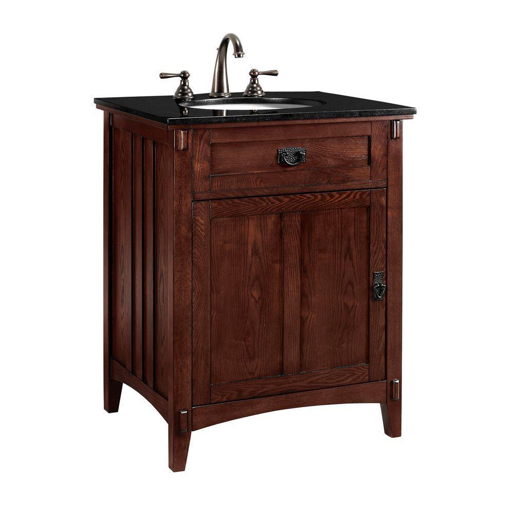 Home Decorators Collection Artisan 26 in. W x 20.5 in. D Vanity Cabinet in Macintosh Oak with Black Granite Vanity Top