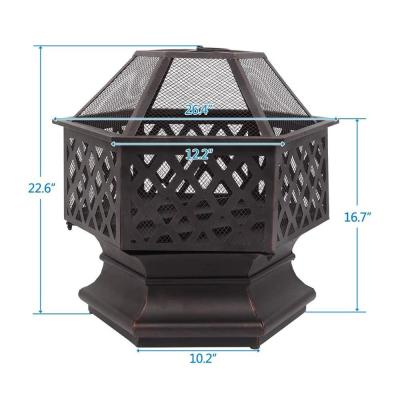 24.6 in. W x 22.6 in. H Hexagon Iron Wood Burning Bronze Fire Pit