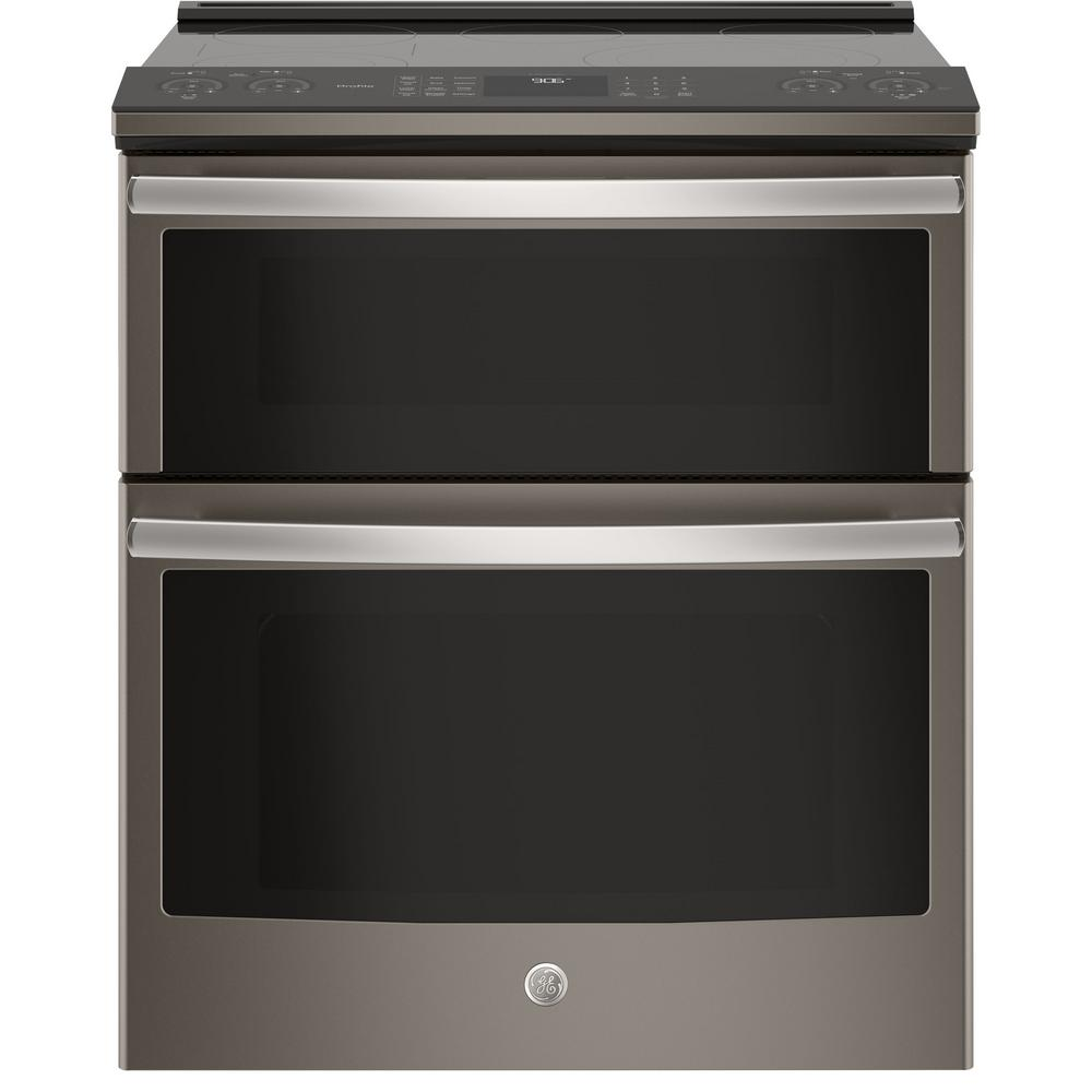GE Profile 6.6 cu. ft. Slide-In Smart Double Oven Electric Range with Self-Cleaning Convection in Slate