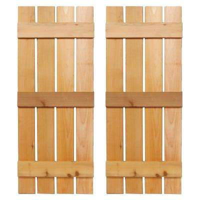 15 in. x 36 in. Baton Spaced Board and Batten Shutters Pair Natural-Cedar
