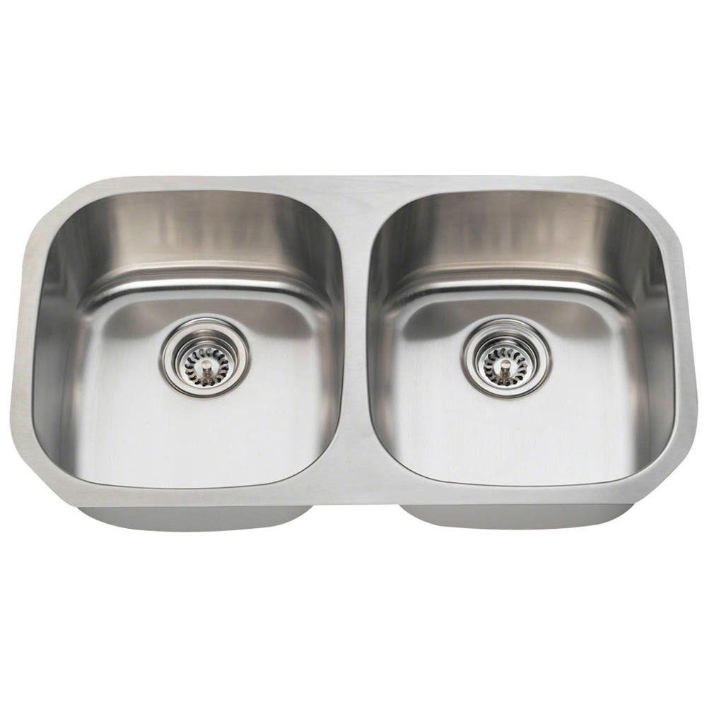 Polaris Sinks Undermount Stainless Steel 33 In. Double Bowl Kitchen Sink