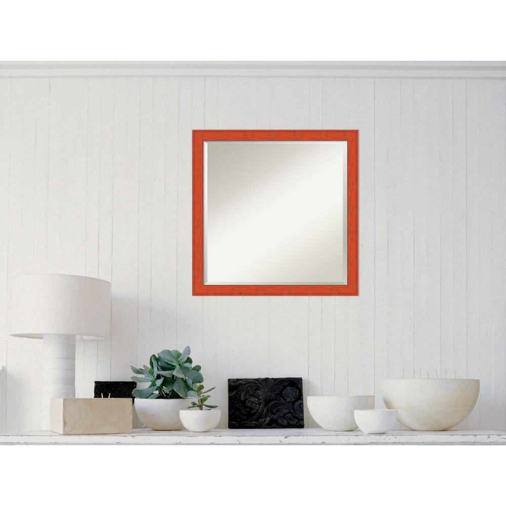 Bourbon Orange Rustic Wood 22 in. W x 22 in. H Distressed Framed Mirror