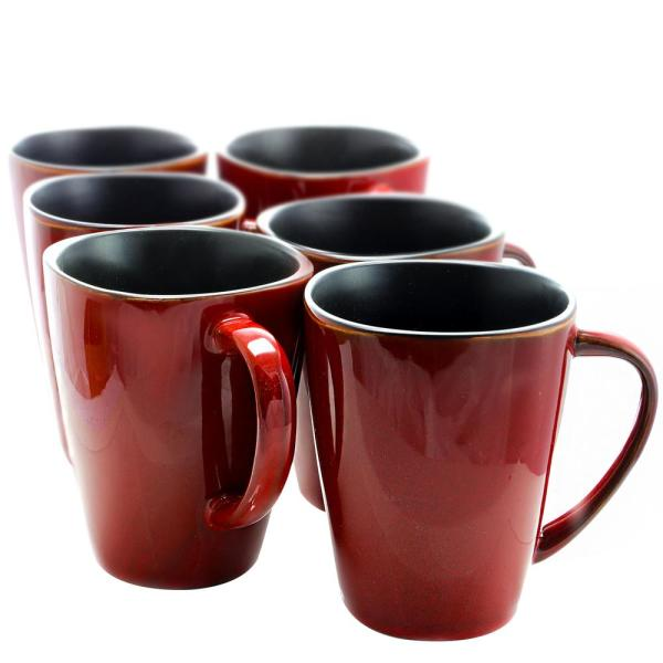 Elama Harland 14 oz. Red Stoneware Mugs ( Set of 6)