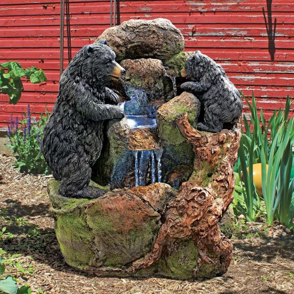 Grizzly Gulch Black Bears Stone Bonded Resin Garden Fountain