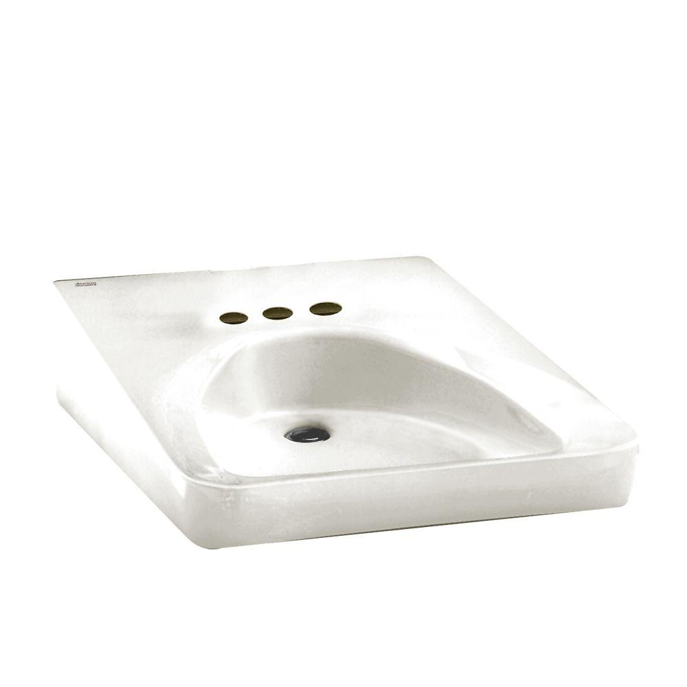 Wheelchair Users Wall-Mounted Bathroom Sink in White