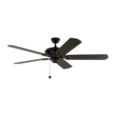 York 60 in. Matte Black Ceiling Fan with Black Blades with Pull Chain
