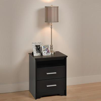 Coal Harbor 2-Drawer Black Nightstand