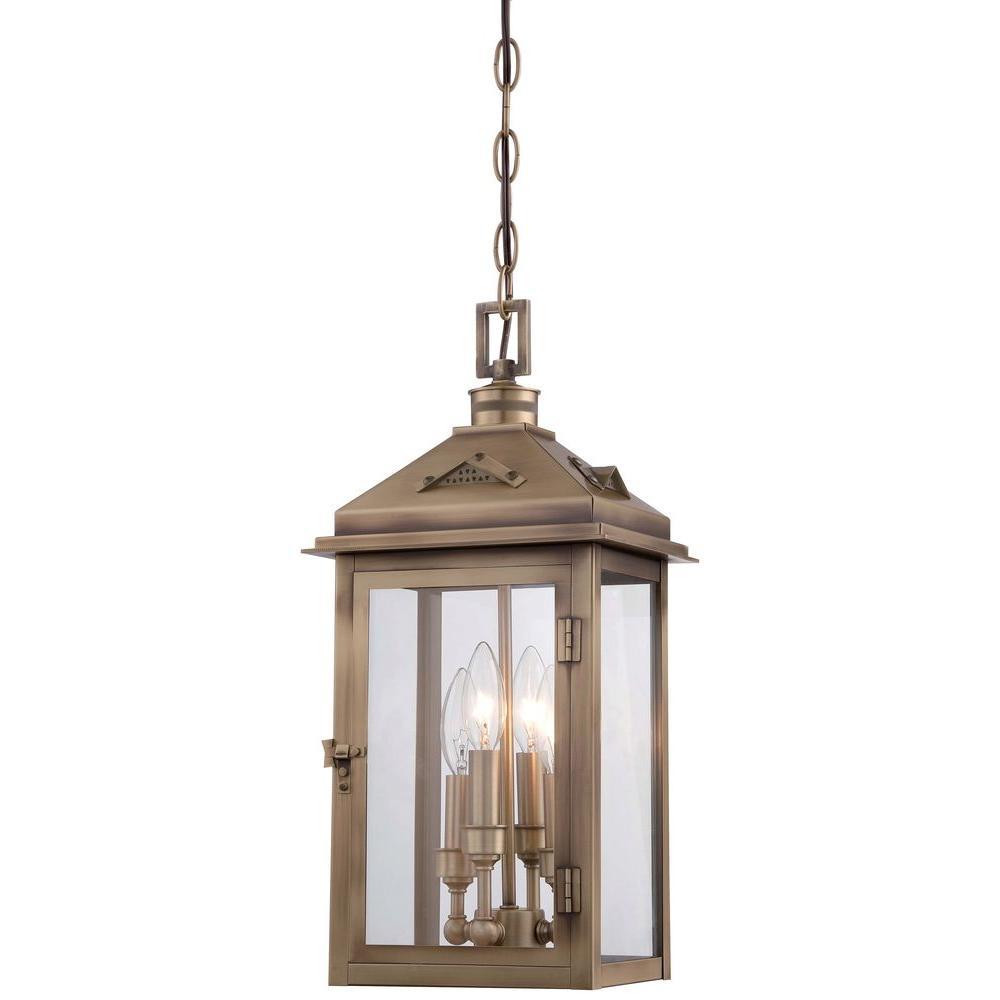 Eastbury 4-Light Colonial Brass Outdoor Chain Hung