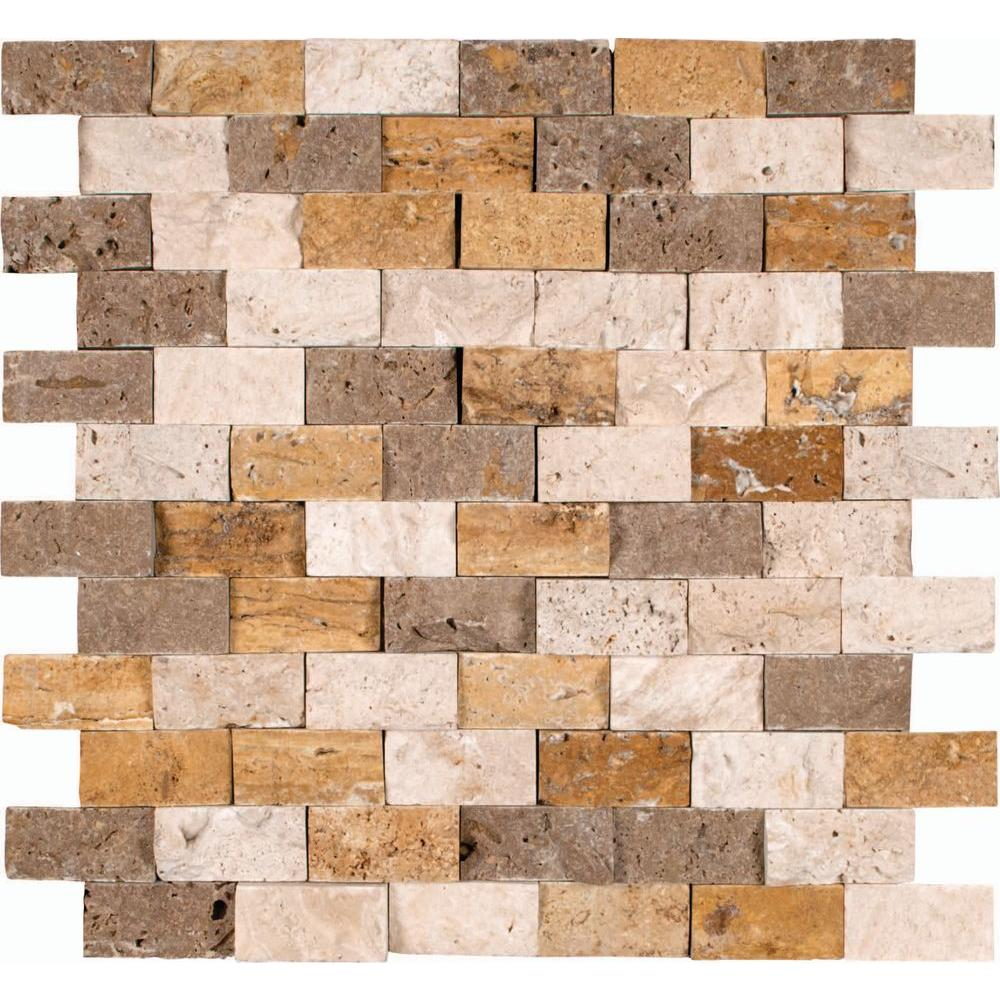 Brown glass travertine mix backsplash tile