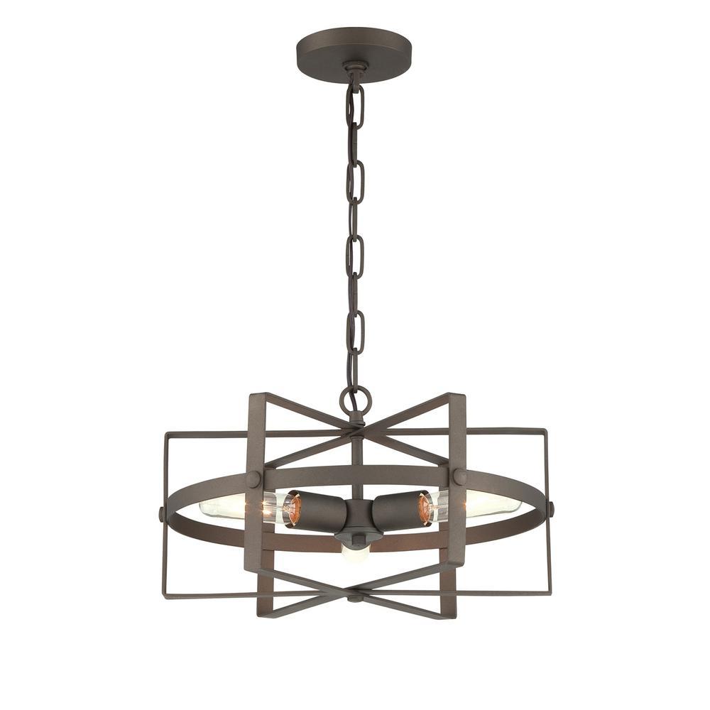 Reel 3-Light Rustic Bronze Pendant