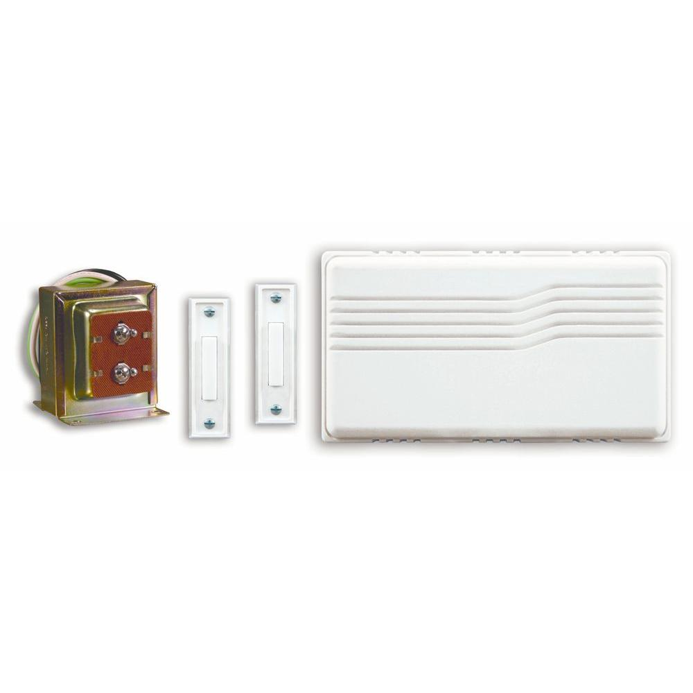 Heath Zenith Wired Door Chime Kit With 2 Lighted Push Buttons-DISCONTINUED