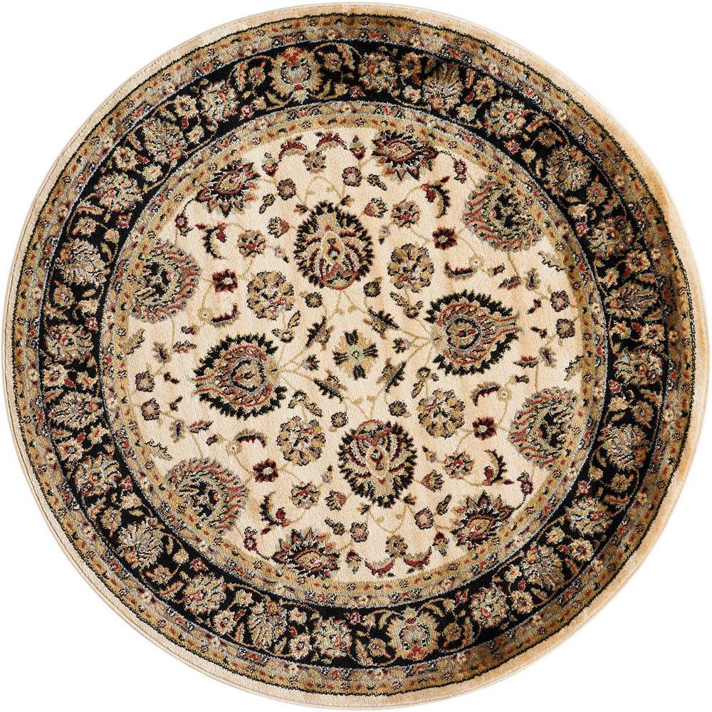 nourison delano ivory black 5 ft 3 in round area rug 370143 the home depot. Black Bedroom Furniture Sets. Home Design Ideas
