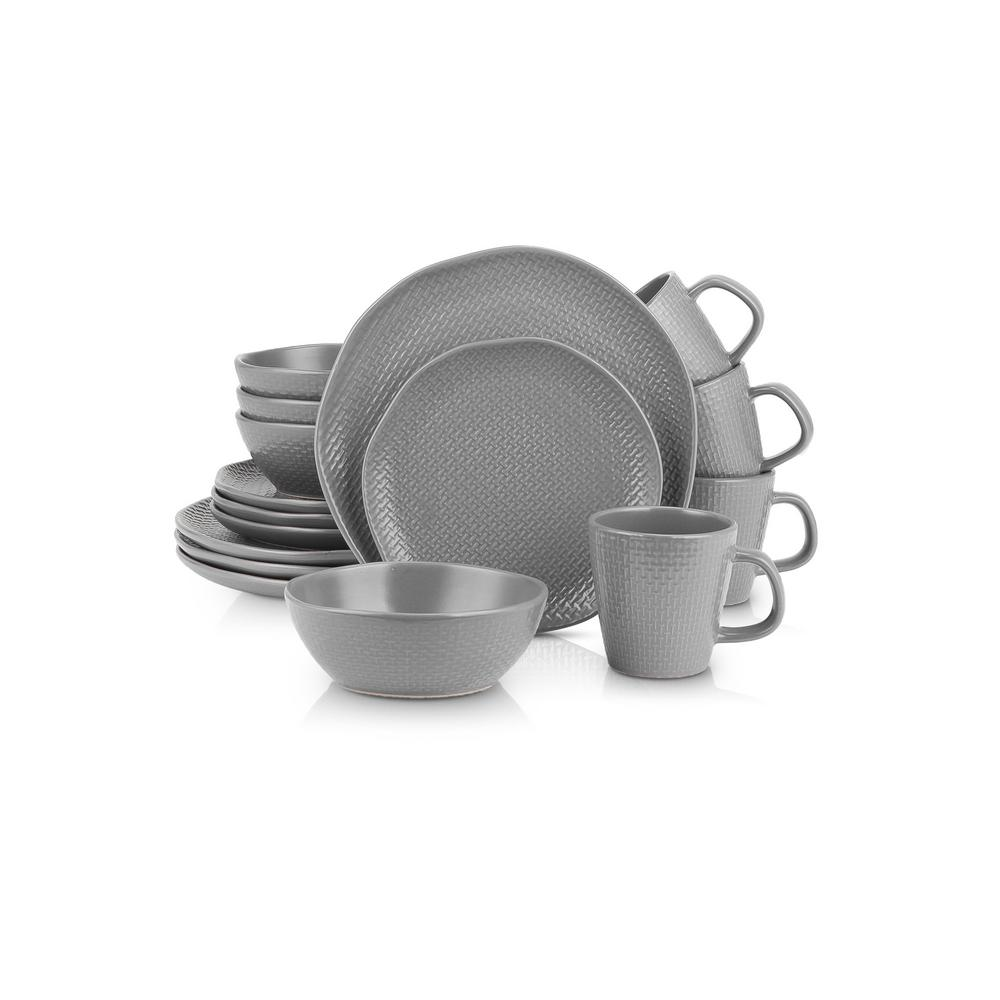 32-Piece Casual Gray Stoneware Dinnerware Set (Set for 8)