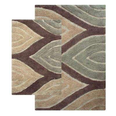 Davenport 21 in. x 34 in. and 24 in. x 40 in. 2-Piece Bath Rug Set in Tan