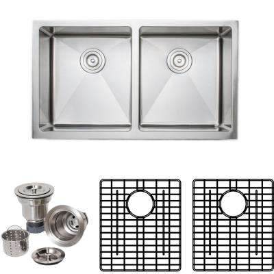 The Chefs Series Undermount 33 in. Stainless Steel Handmade 50/50 Double Bowl Kitchen Sink