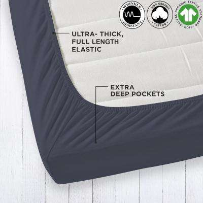 Organic Cotton Wrinkle Resistant Dark Grey Queen Fitted Sheet Extra Deep Pockets