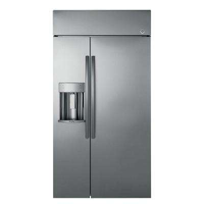 Profile 48 in. W 28.7 cu. ft. Built-In Side by Side Refrigerator in Stainless Steel
