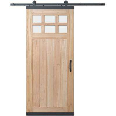 36 in. x 80 in. DesignGlide Farmhouse Unfinished Wood 6-Lite Obscure Glass Sliding Barn Door & Black Hardware Kit