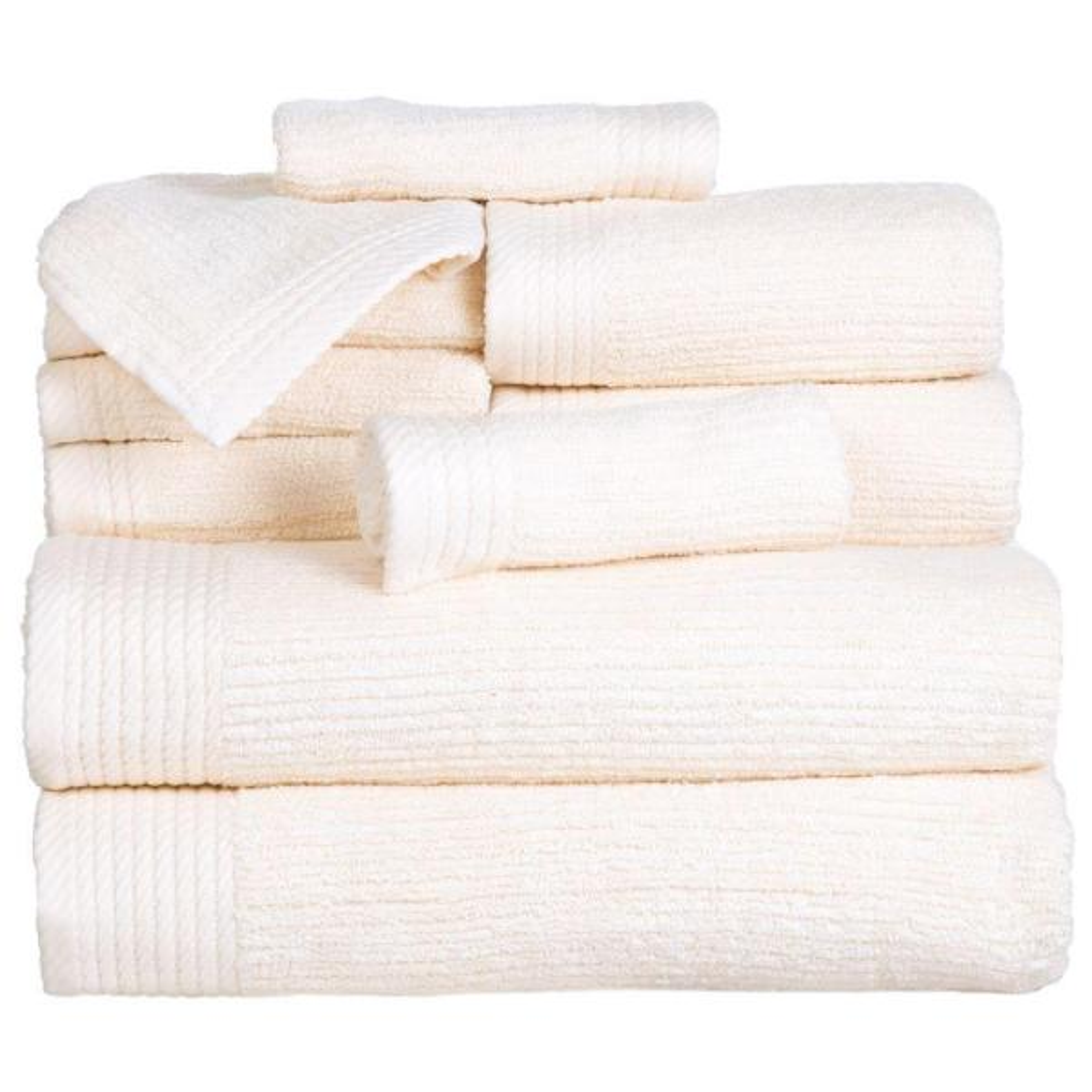 Lavish Home Ribbed Egyptian Cotton Towel Set in Bone (10-Piece) 67-0021-B