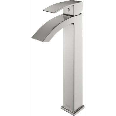 Single Hole Single-Handle Vessel Bathroom Faucet in Brushed Nickel