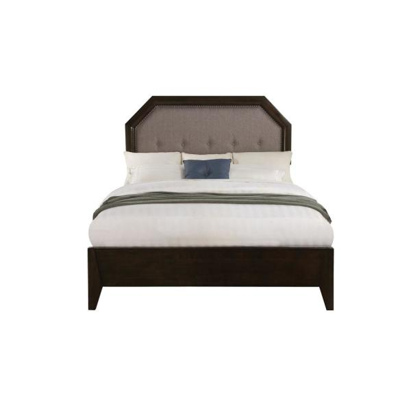 Acme Furniture Selma Gray Fabric and Tobacco Eastern King Bed