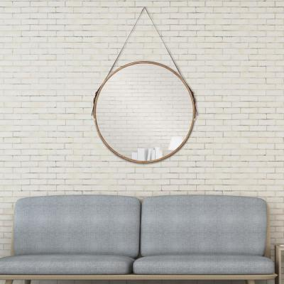 Leather Belted Farmhouse Round Hanging Brown Decorative Mirror