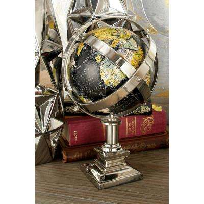 12 in. Black and Multi-color Globe Decor on Silver Frame and Stand