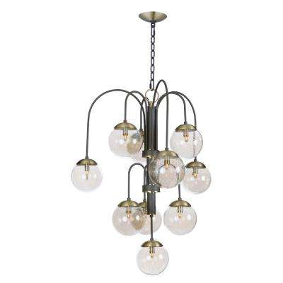 Reverb 30 in. W 10-Light Textured Bronze/Satin Brass Chandelier with Topaz Bubble Glass Shade