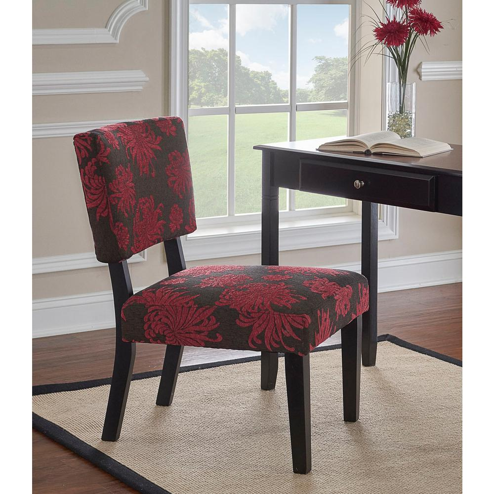 null Taylor Red and Gray Accent Chair