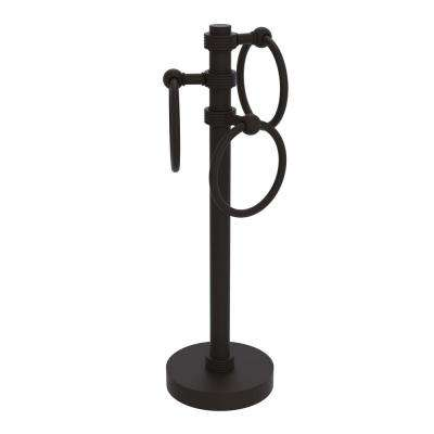 Vanity Top 3 Towel Ring Guest Towel Holder with Groovy Accents in Oil Rubbed Bronze