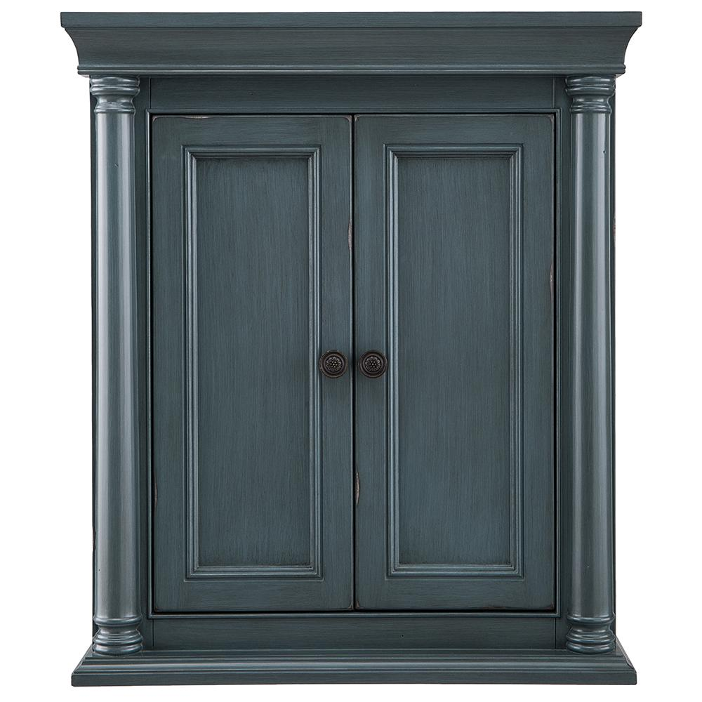 Home Decorators Collection Strousse 26 in. W x 30 in. H Wall Cabinet in Distressed Blue Fog