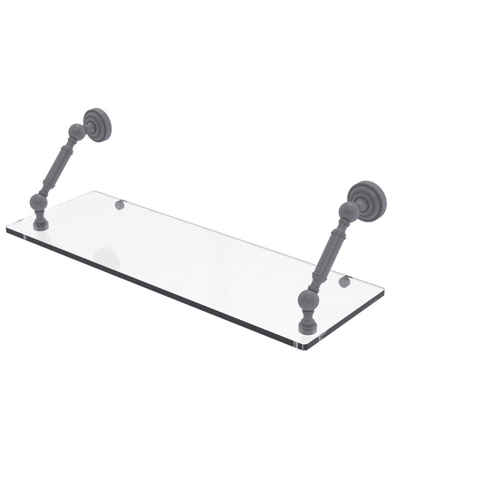 Allied Brass Dottingham Collection 24 in. Floating Glass Shelf in Matte Gray