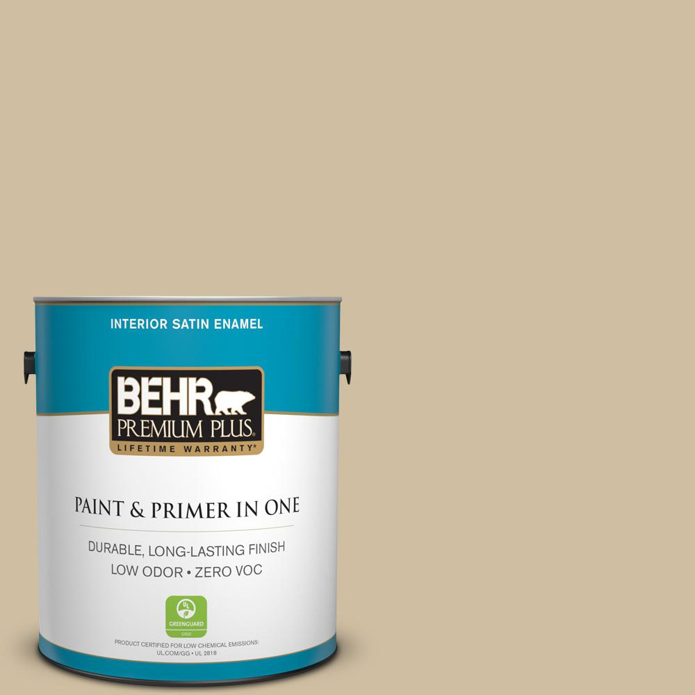 BEHR Premium Plus 1-gal. #S320-3 Final Straw Satin Enamel Interior Paint