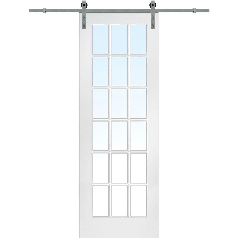 MMI Door 36 in. x 96 in. Primed 18-Lite Door with Barn Do...