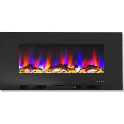 42 in. Wall-Mount Electric Fireplace in Black with Multi-Color Flames and Driftwood Log Display