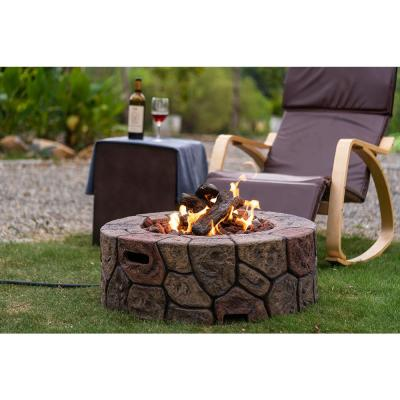 30 in. 50000 BTU Fire Pit Tables for Outside Patio Propane Rocks Cylindrical Stone for Outside Patio with Lava Rocks